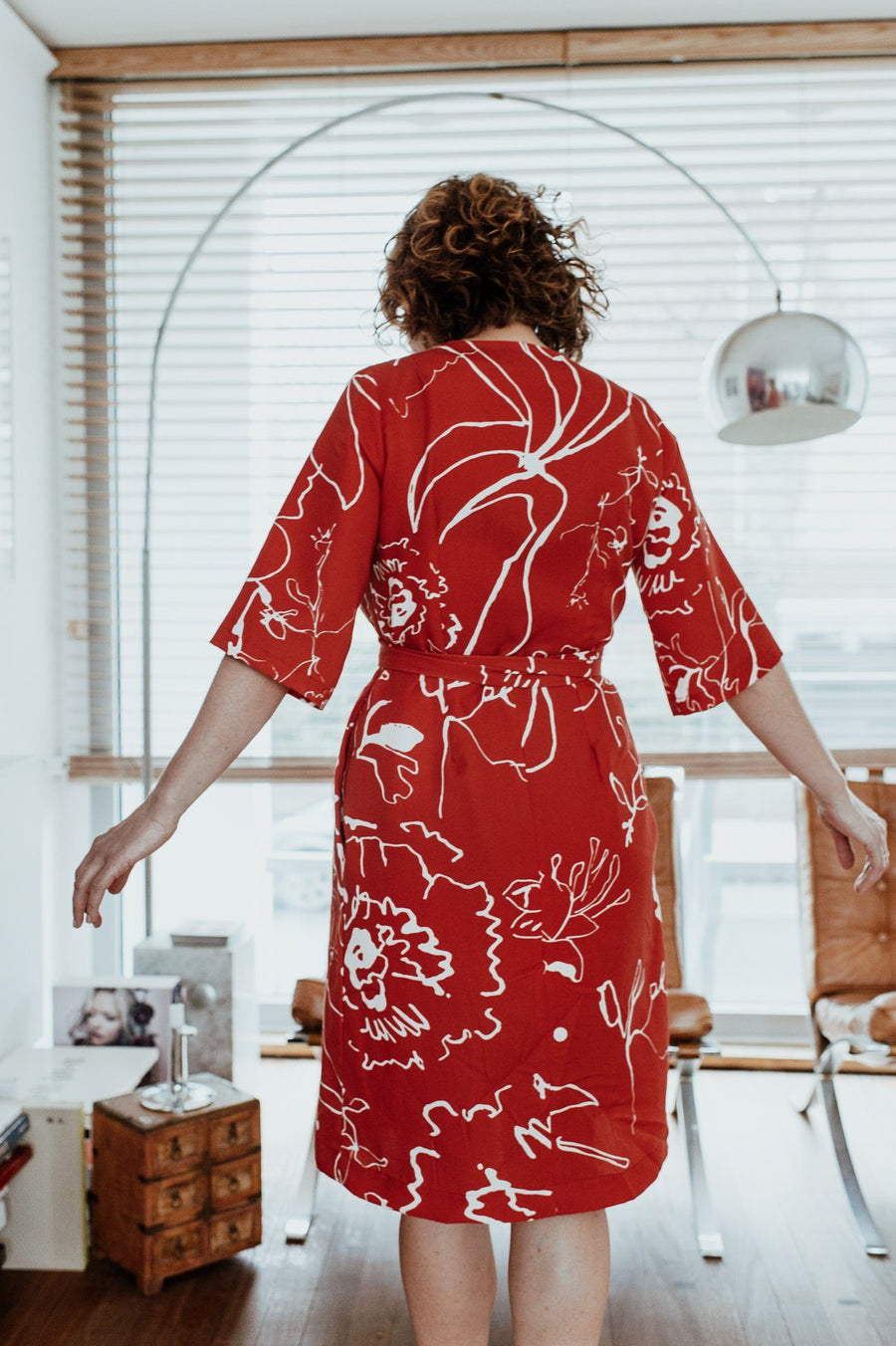 Midi Wrap Dress in Red Print