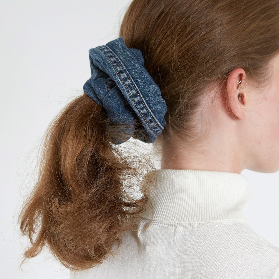 Dark Blue Denim Hair Scrunchie