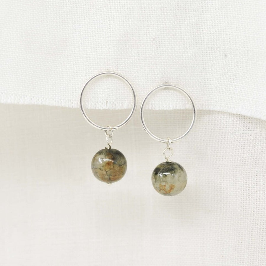 Glass Bead & Circle Stud Earrings
