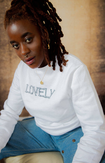 Unisex Lovely Organic Cotton Sweatshirt in White