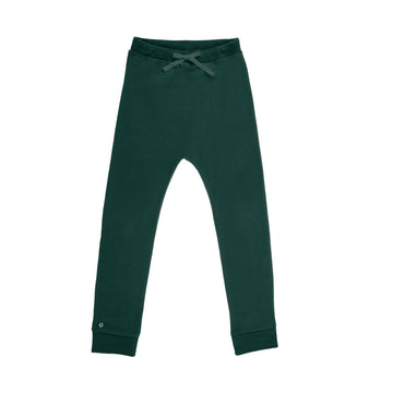 Oh-So-Easy Organic Cotton Casual Trousers in Forest Green