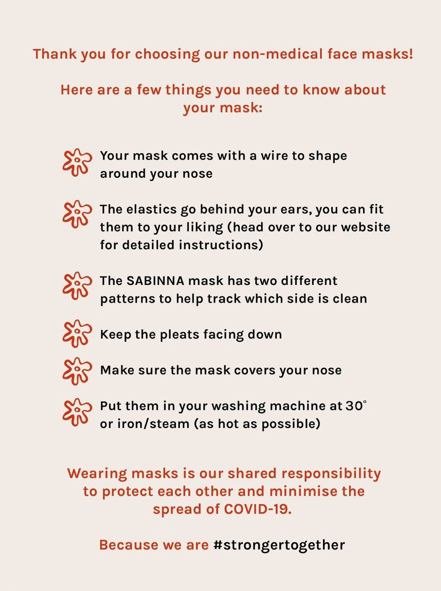 Face Masks Made From 100% Natural Fibres - Pack of 5 Assorted Set