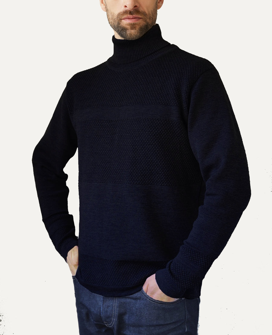 Wex Sailor Organic Wool Turtleneck - Navy