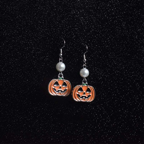 Halloween funny earrings personalized pumpkin pearl earrings