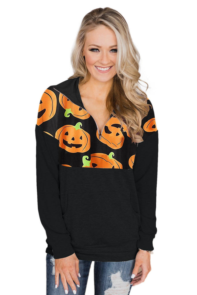 Black 1/4 Zip Halloween Pumpkin Pullover Long Sleeve Sweatshirt