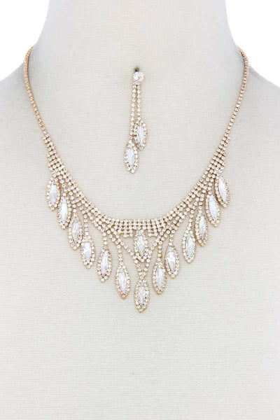 Marquise Shape Rhinestone Necklace