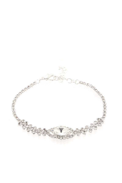 Marquise Shape Crystal Rhinestone Necklace And Bracelet Set
