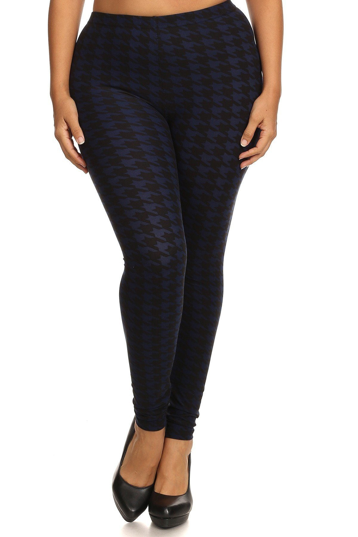 Plus Size Houndstooth Graphic Print, Full Length Leggings In A Slim Fitting Style With A Banded High Waist