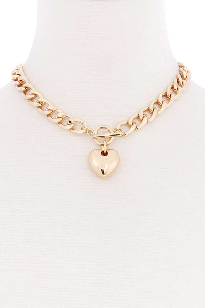 Basic Chunky Chain With Heart Pendant Necklace