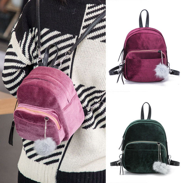Fashion Backpack Women Mini Fur Ball School Bags