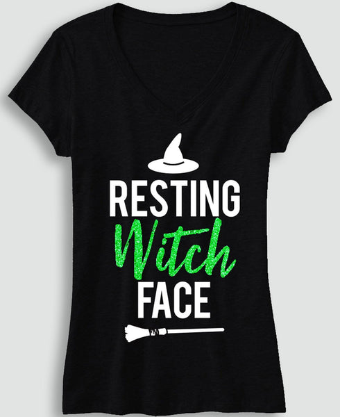 RESTING WITCH FACE Halloween Shirt with Green Glitter Print
