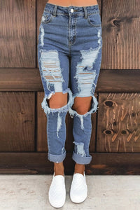 Retro Style Holes Blue Distressed Mom Jeans