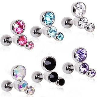 316L Surgical Steel Triple Round CZ Cartilage Earring