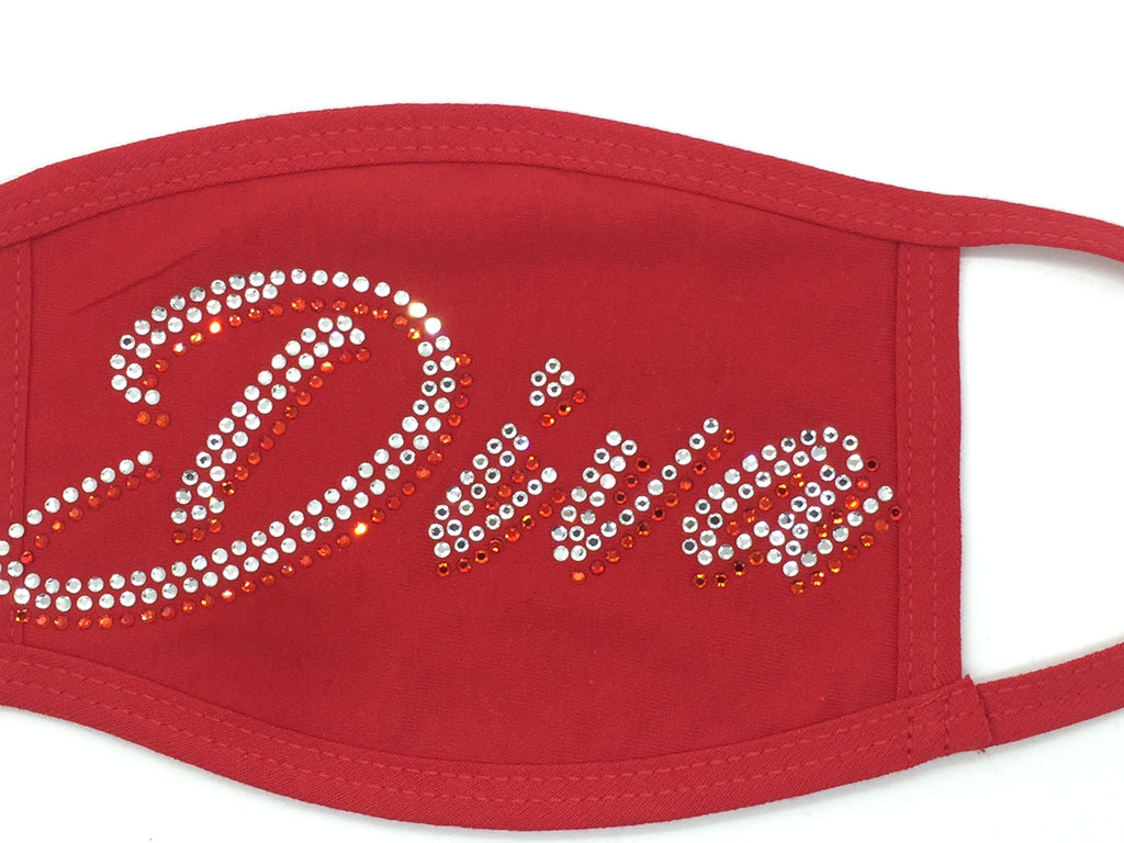 Stones and Studs 'Diva' Rhinestone Face Mask (Red)