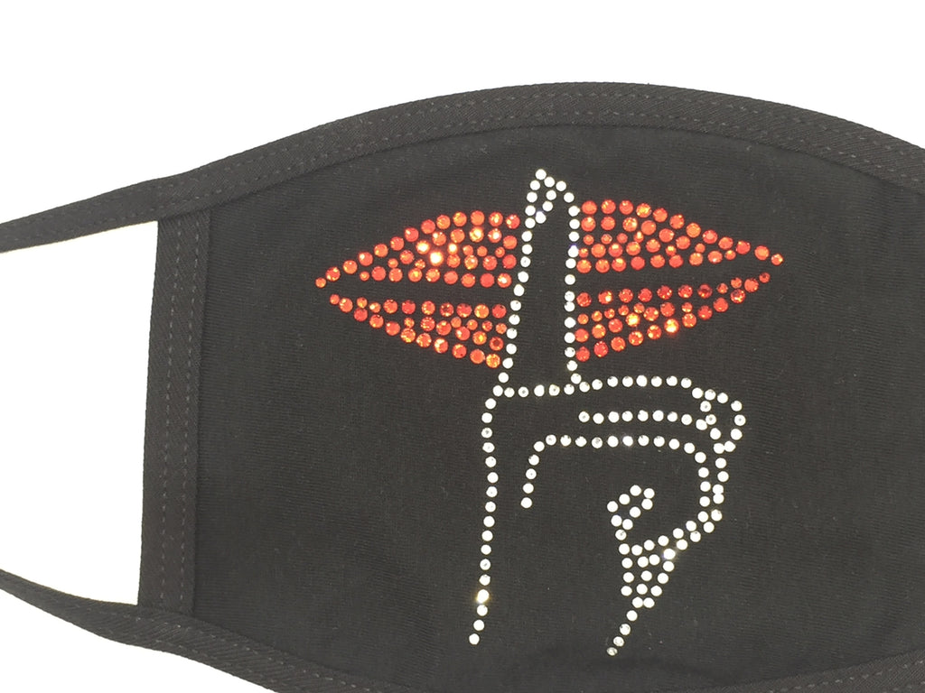 Stones and Studs 'Shh' Rhinestone Face Mask (Black)
