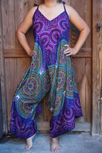 Purple Mandala Boho Hippie Jumpsuit Rompers