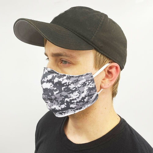 Gray Digital Camo Face Mask