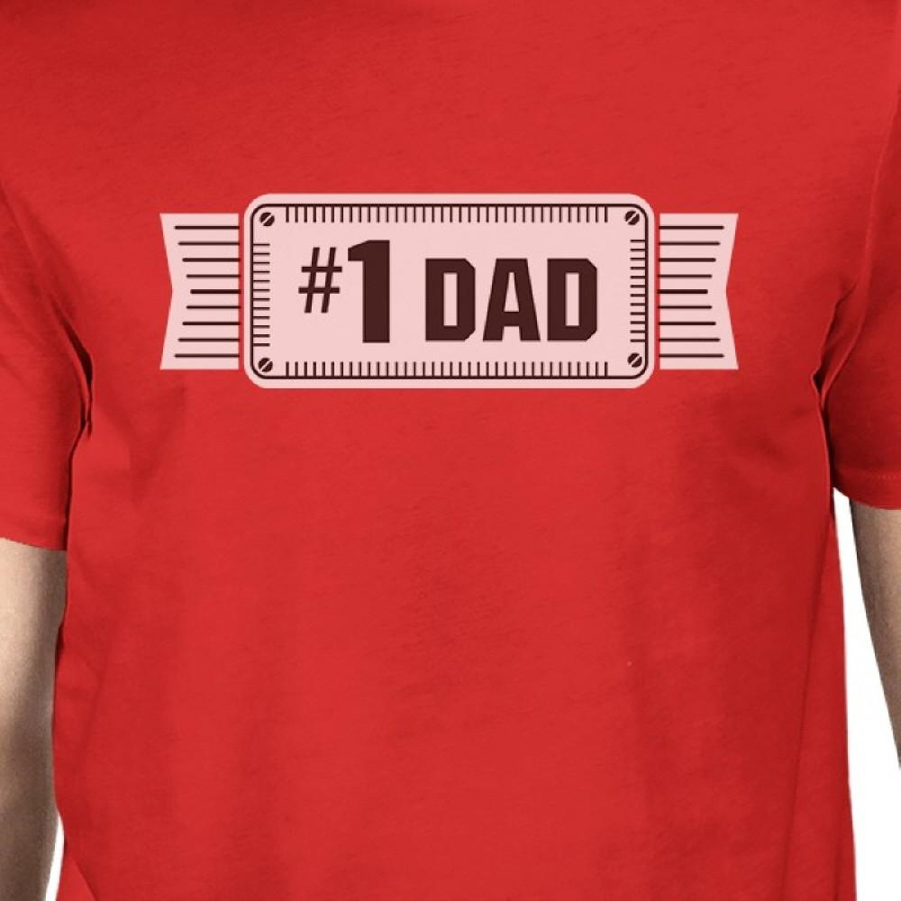 #1 Dad Mens Red Crew Neck Cotton Shirt Perfect Dad