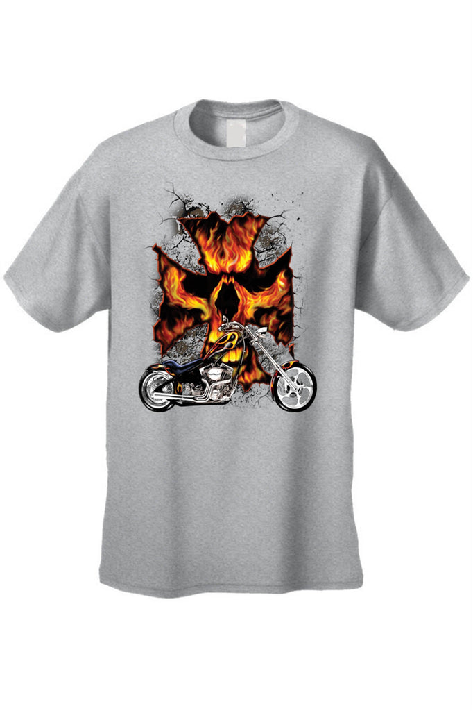 Men's/Unisex T Shirt Motorcycle Flame Skull Cross Short Sleeve Tee