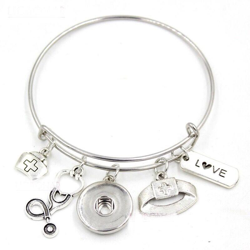 Nurse - Nurses Aide - Themed Bangle Bracelet - Customize with one of