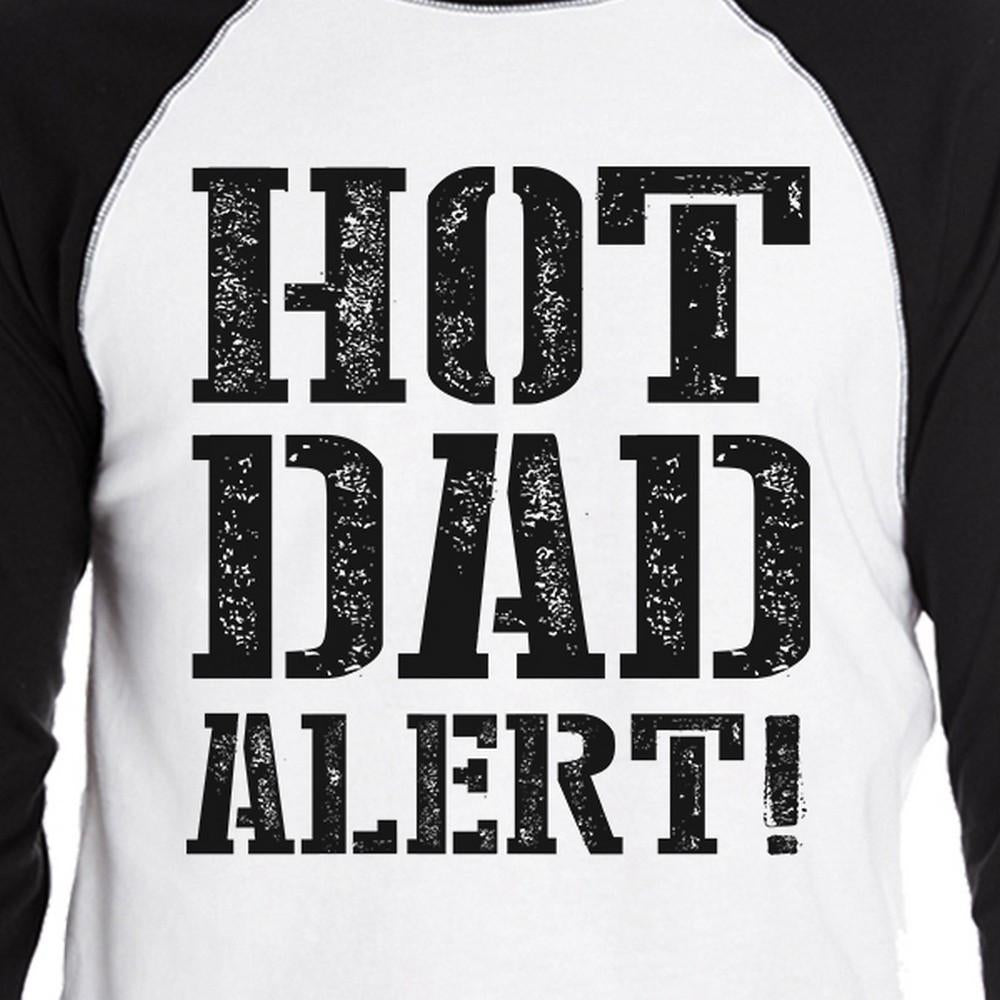 Hot Dad Alert Men's Cotton Baseball Raglan Tee Dad