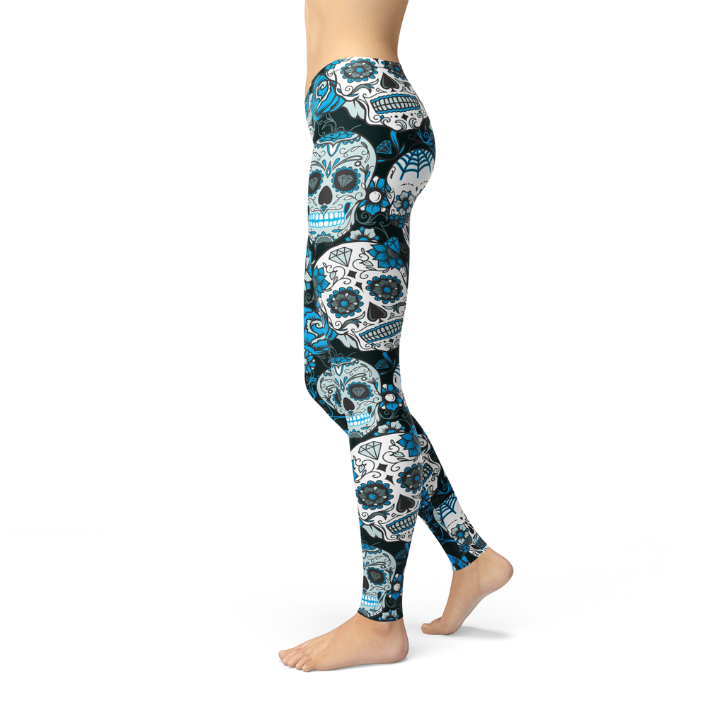 Avery Blue Sugar Skulls Leggings