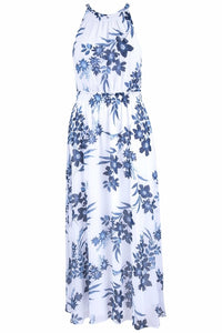 Nine West Floral Print Halter Neck A-Line Maxi Dress