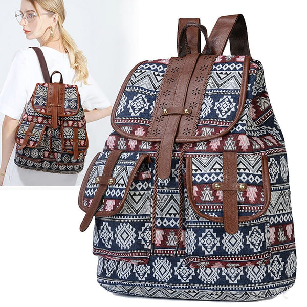 School Bag Boho Retro Vintage Women Backpack Drawstring Printing