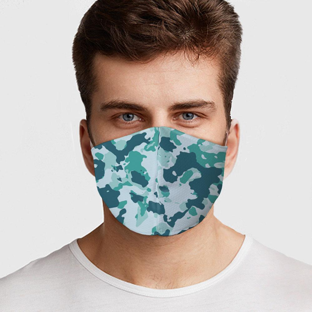 Teal Camo Face Mask