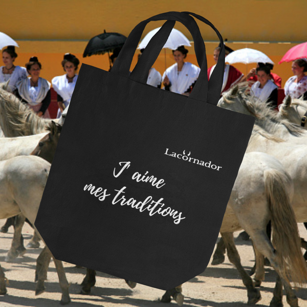 "TOTE BAG BIO 100% RECYCLE ""J'aime mes traditions"""