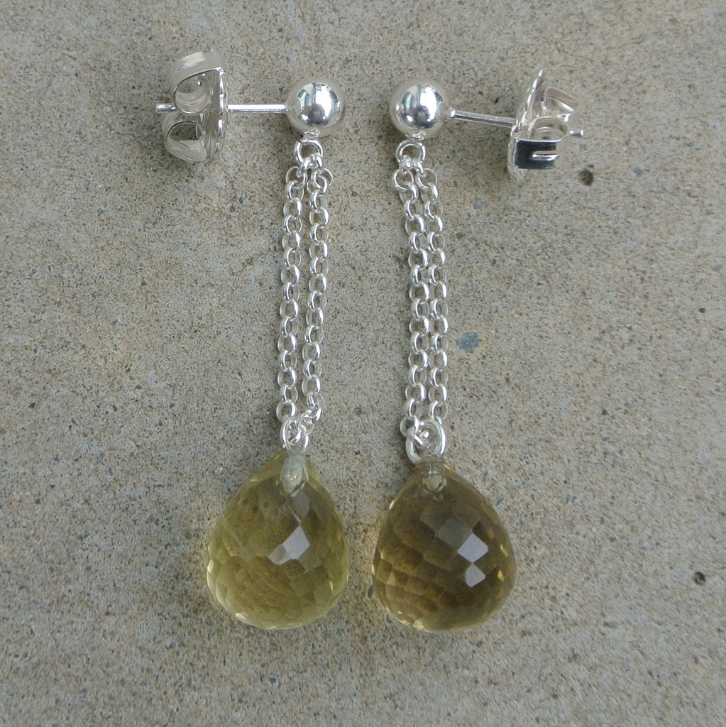 Sterling silver earring with lemon quartz briolette by Sylver and Shackel