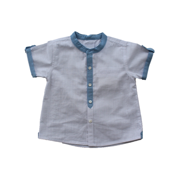 Linen Shirt, Blue Trim