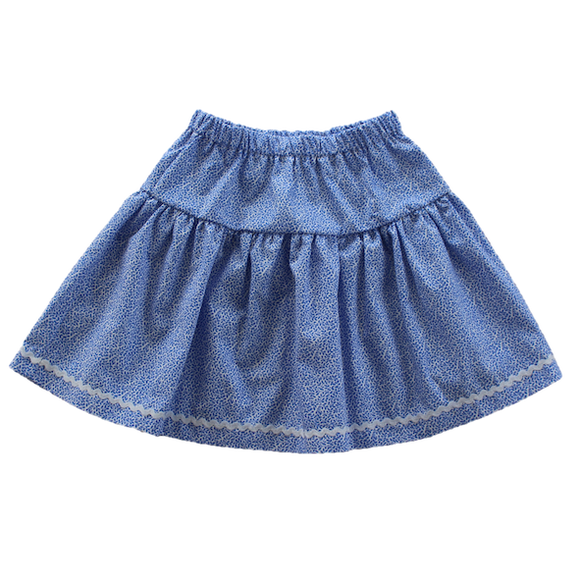 Windswept Skirt, Ditsy Blue (7 y)