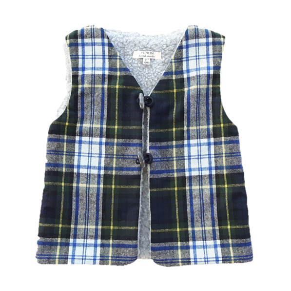 Brook Gilet, Green Tartan (4-5y & 6-7y)