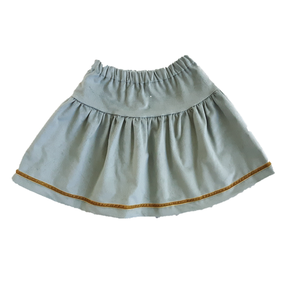 Windswept Skirt, Ice Green Velvet (6-7yrs)