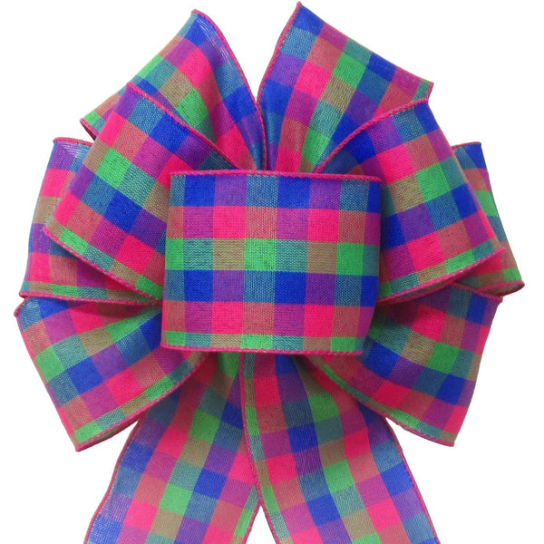 "Wired Easter Basket Buffalo Plaid Bow (2.5""ribbon~8""Wx16""L) - Alpine Holiday Bows"