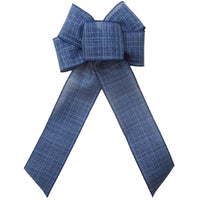 "Wired Denim Navy Blue Linen Bow (2.5""ribbon~6""Wx10""L)"