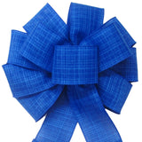 "Wired Denim Royal Blue Linen Bow (2.5""ribbon~10""Wx20""L)"