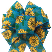 "Fall Wreath Bows - Wired Teal Linen Painted Sunflowers Bow (2.5""ribbon~8""Wx16""L)"