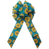 "Fall Bows - Wired Teal Linen Painted Sunflowers Bow (2.5""ribbon~8""Wx16""L)"