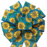 "Fall Wreath Bows - Wired Teal Linen Painted Sunflowers Bow (2.5""ribbon~10""Wx20""L)"