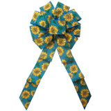 "Fall Bows - Wired Teal Linen Painted Sunflowers Bow (2.5""ribbon~10""Wx20""L)"