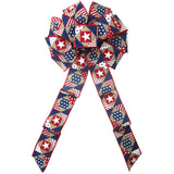 "Wired Patriotic Patchwork Natural Bows (2.5""ribbon~10""Wx20""L)"