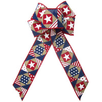 "Wired Patriotic Patchwork Natural Bows (2.5""ribbon~6""Wx10""L)"