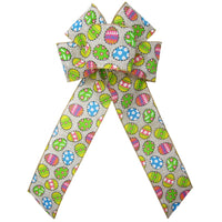 "Wired Candied Easter Eggs Linen Bow (2.5""ribbon~6""Wx10""L) - Alpine Holiday Bows"