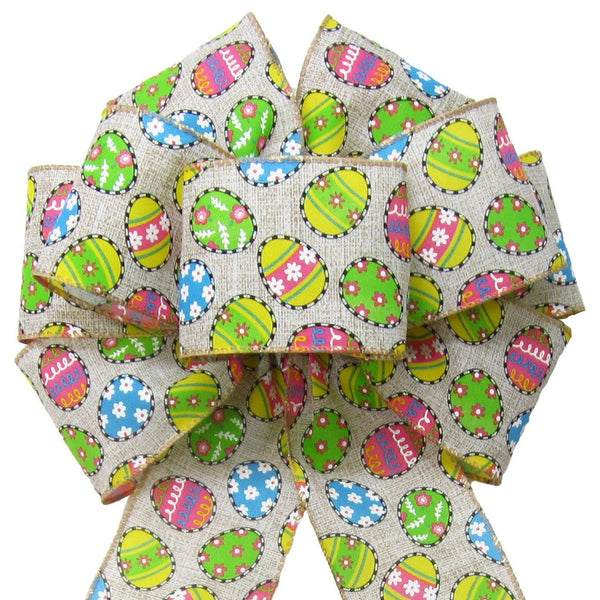"Wired Candied Easter Eggs Linen Bow (2.5""ribbon~8""Wx16""L) - Alpine Holiday Bows"