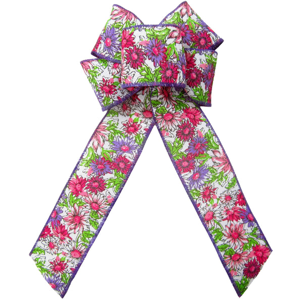 "Wired Field of Flowers Pink & Purple Bow (2.5""ribbon~6""Wx10""L) - Alpine Holiday Bows"