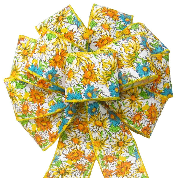 "Wired Field of Flowers Yellow & Teal Bow (2.5""ribbon~10""Wx20""L) - Alpine Holiday Bows"