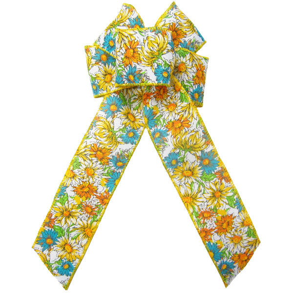 "Wired Field of Flowers Yellow & Teal Bow (2.5""ribbon~6""Wx10""L) - Alpine Holiday Bows"