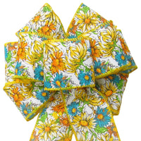 "Wired Field of Flowers Yellow & Teal Bow (2.5""ribbon~8""Wx16""L) - Alpine Holiday Bows"